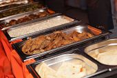 image of banquet  - Banquet meal trays served on tables  - JPG