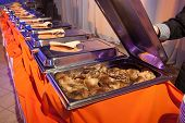 picture of banquet  - Banquet meal trays served on tables  - JPG