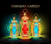 image of occasion  - Beautiful Elegant Ramadan Kareem Lantern or Fanous in Gold With Colorful Lights in Night Background for the Holy Month Occasion of fasting - JPG
