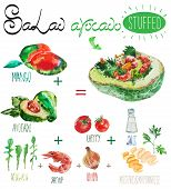 picture of shrimp  - Watercolor vector salad recipe with avocado filling - JPG