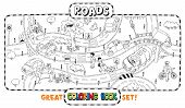 stock photo of pedestrian crossing  - Great coloring book or coloring picture of roads - JPG