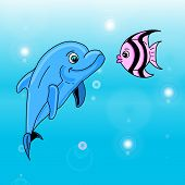 stock photo of dolphins  - Young smiling dolphin and an angel fish meet - JPG