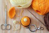 stock photo of thread-making  - Making of handmade colorful crochet sweets toys  - JPG