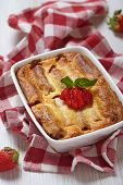 picture of crepes  - Strawberry crepes roll baked with cheesecake sauce - JPG