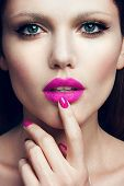 image of pink eyes  - Portrait of beautiful girl with pink lips and blue eyes - JPG