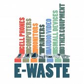 stock photo of waste management  - Electronic waste categories composition - JPG