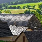 stock photo of french culture  - Black Tiles on the Roof of the French Town - JPG
