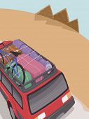 picture of pyramid  - Illustration of an SUV Full of Camping Gear Headed Towards the Pyramids of Egypt - JPG