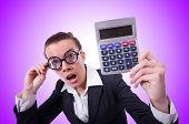 foto of nerd  - Nerd female accountant with calculator - JPG