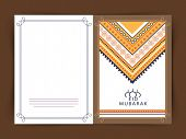 pic of muslim  - Beautiful greeting card design decorated with floral design for Muslim community festival - JPG