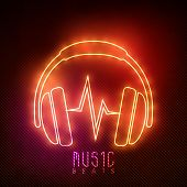 stock photo of beats  - Stylish neon headphone with text Music Beats on shiny background - JPG