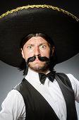 foto of sombrero  - Mexican man wears sombrero isolated on white - JPG