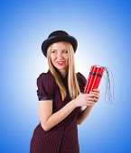 stock photo of gangster  - Woman gangster with dynamite sticks on white - JPG