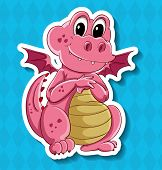 stock photo of dragon  - Closeup cute little pink dragon with wings - JPG