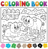 picture of color animal  - Coloring book with two happy pigs  - JPG
