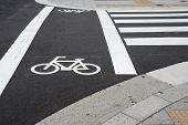picture of bike path  - Bicycle sign beside crosswalk on the road in city for bike path - JPG