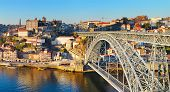 picture of dom  - Panorama of Porto with famous Dom Luis bridge - JPG