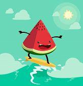 image of watermelon  - watermelon on surf board - JPG