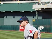 Red Sox Closer Jonathan Papelbon Waits In Bullpen For Call To The Mound