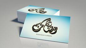 stock photo of ramadan mubarak card  - The Holy month of muslim community festival Ramadan Kareem and Eid al Fitr greeting card with Arabic calligraphy of text Ramadan Kareem and Ramadan moon - JPG
