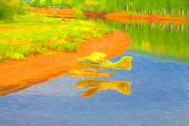foto of float-plane  - Yellow float plane tied up on river bank in Alaska - JPG