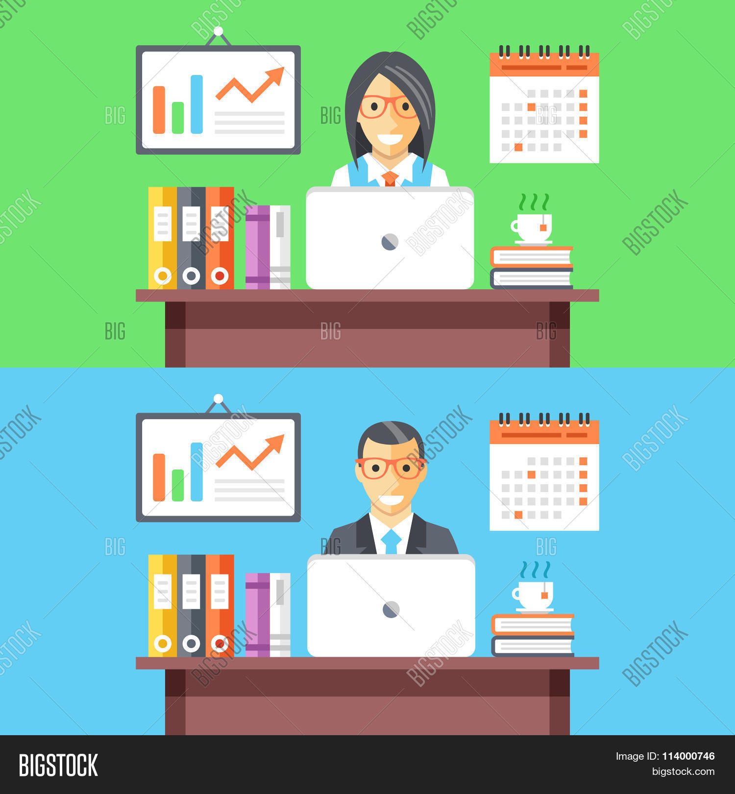 Office Workers Web Banners Man Vector Photo Bigstock
