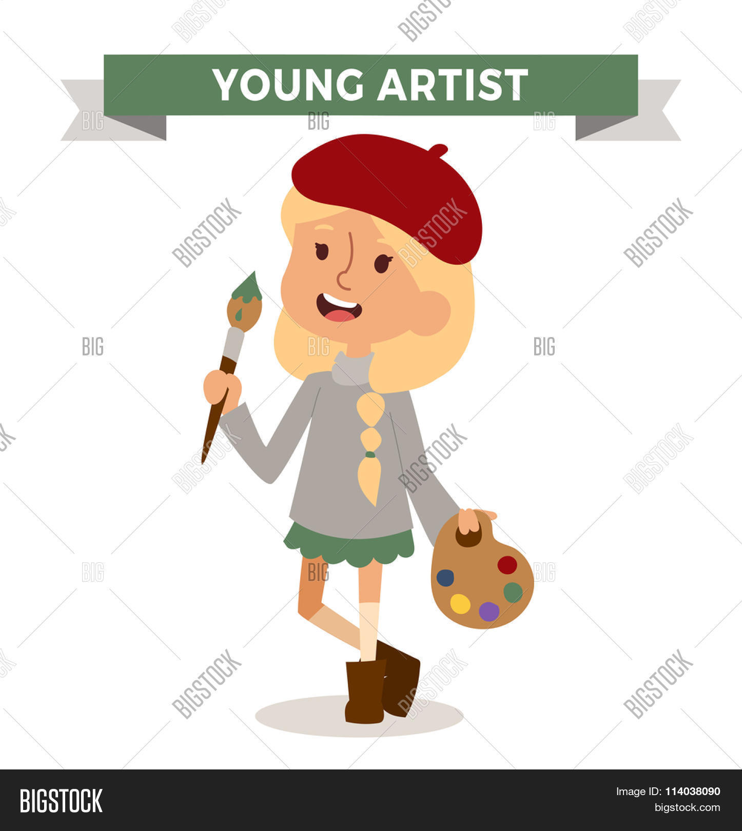artist girl with art brush isolated on white cute cartoon vector profession artist kid with - Cartoon Kid Images