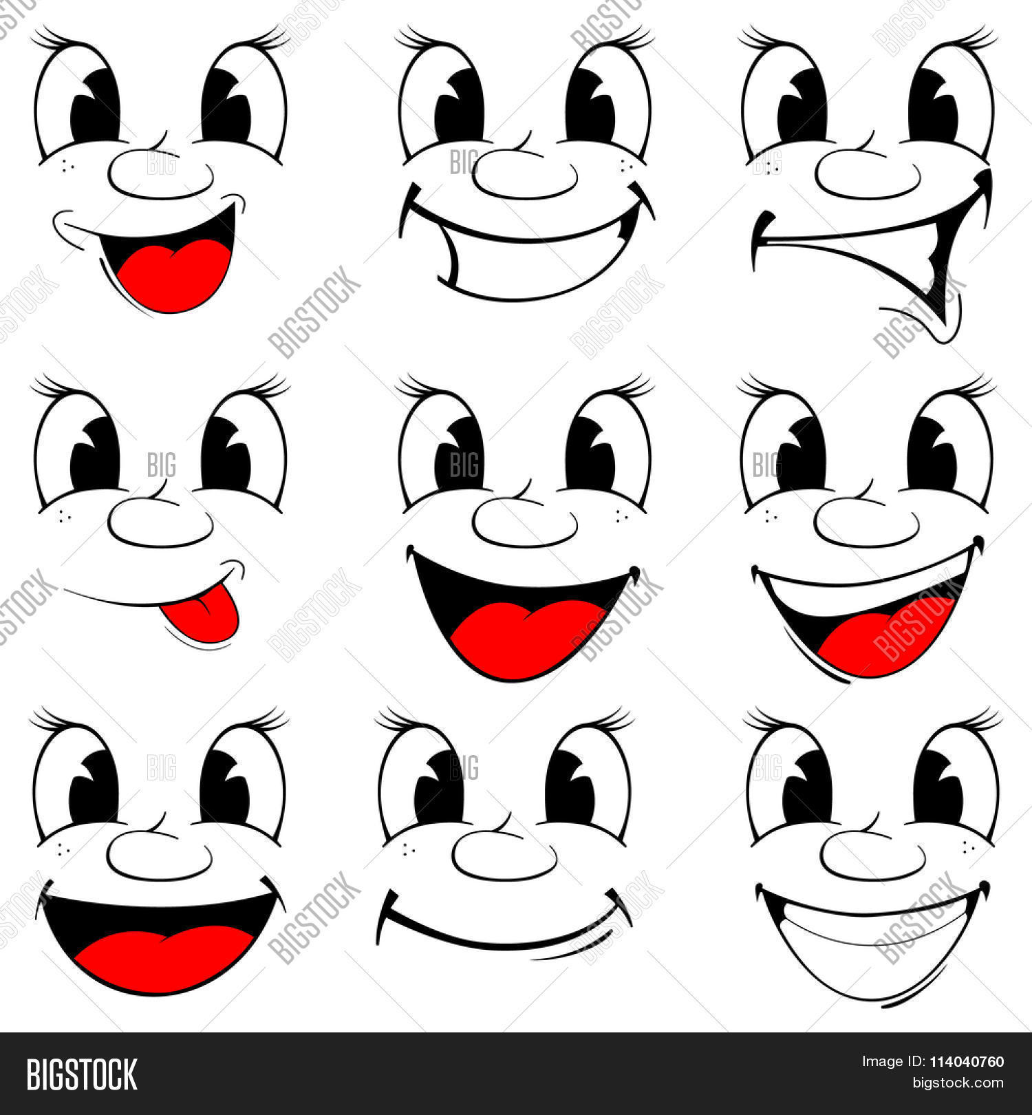 Vector Illustration Set Smiling Vector & Photo | Bigstock