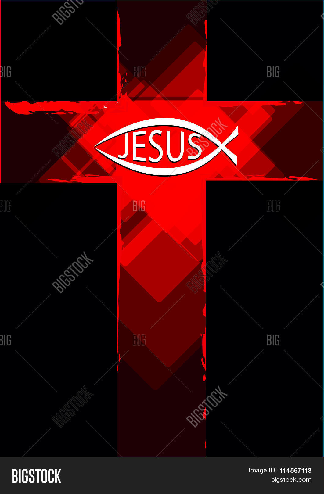 Grunge red cross ichthys fish vector photo bigstock grunge red cross with a ichthys fish symbol and jesus text buycottarizona Gallery