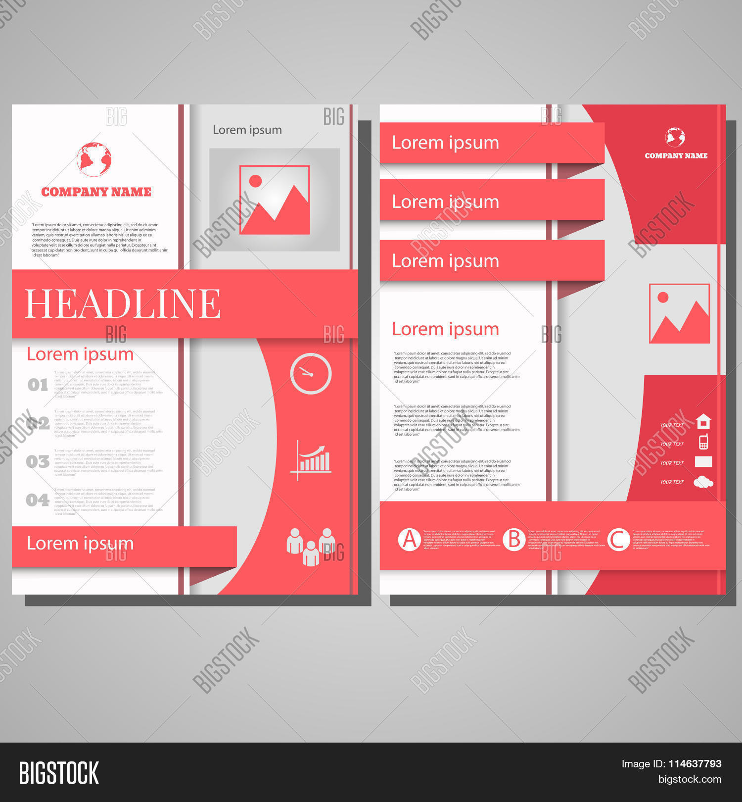Pink Brochure Flyer Design Layout Template, Size A4, Front Page ...