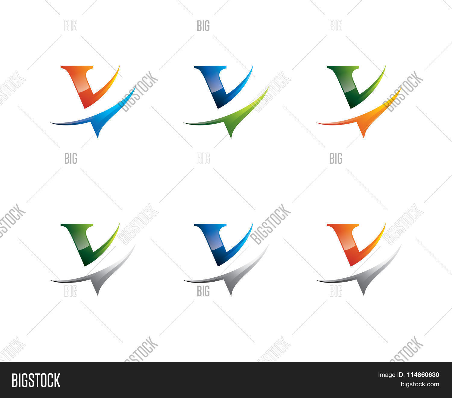 colorful v letter logo v logo design template element