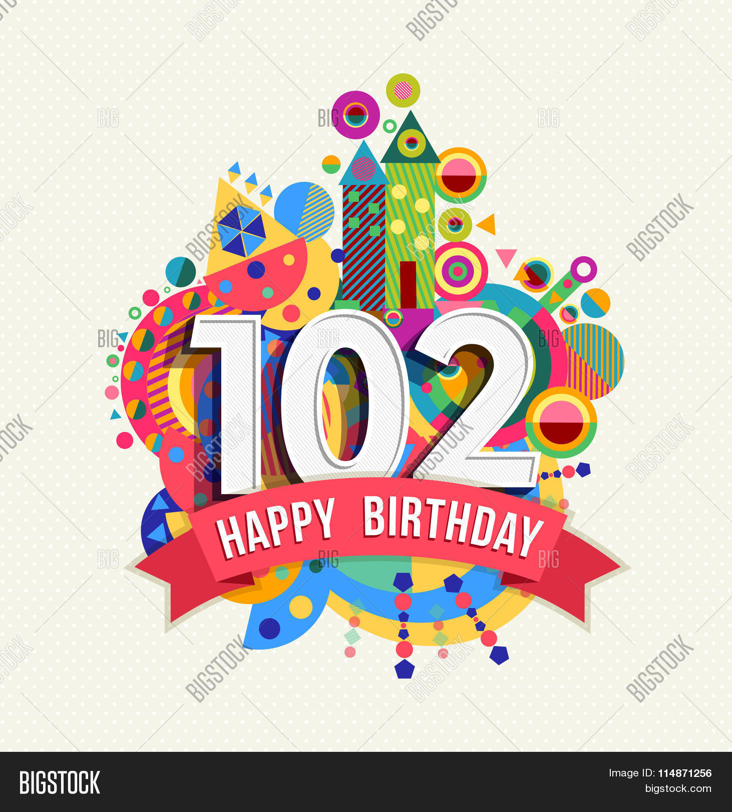 Happy Birthday 102 Year Greeting Vector & Photo