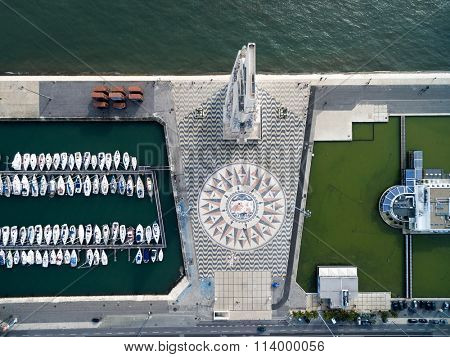 Top View of Monument to the Discoveries and the Mosaic Map, Lisbon, Portugal