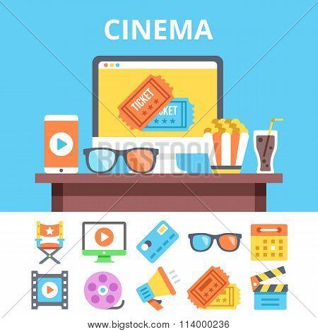 Cinema flat illustration and colorful flat cinema icons set