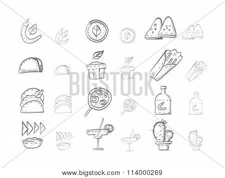 Sketch icons vector collection for mexican food