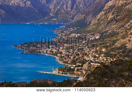Kotor Bay on Sunset - Montenegro - nature and architecture background
