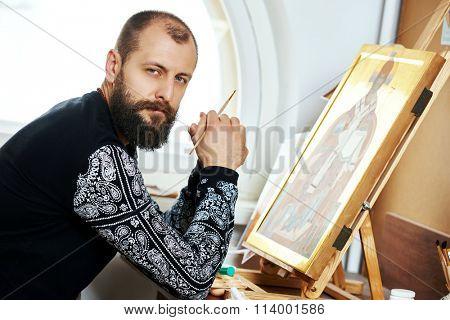 Religious icon painter man portrait