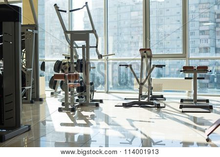 Training apparatus in gym hall.