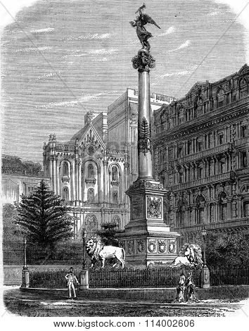 Victory Column on the Place des Martyrs in Naples, vintage engraved illustration. Magasin Pittoresque 1878.