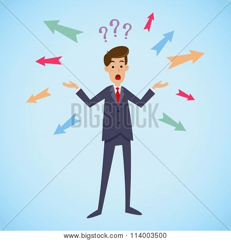 Confused Businessman Choosing Direction