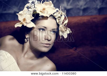 Young Beautiful Woman Dressed As Spring