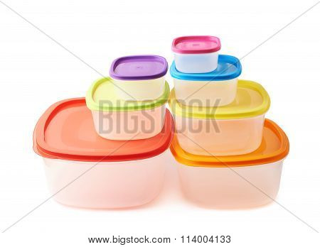 Pyramid of food containers isolated