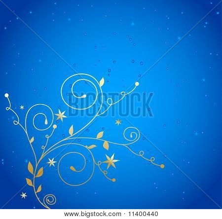 golden floral background with drops on blue