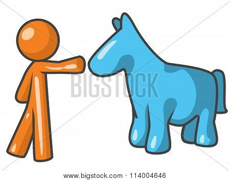 Orange Person With Horse