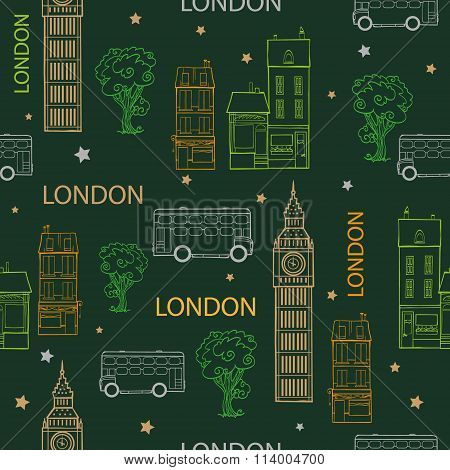 Vector Green London Streets Hand Drawn Seamless Pattern with houses, trees, busses and Big Ben tower