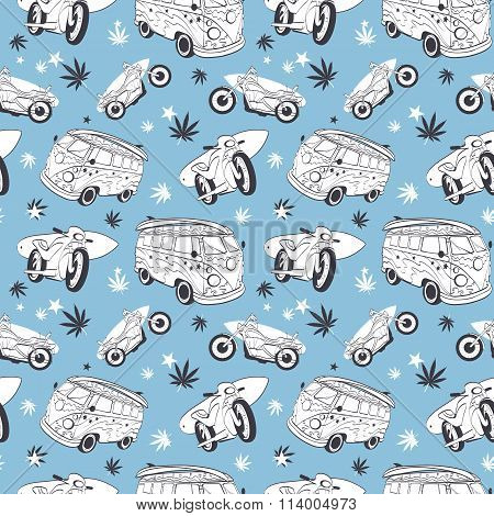Vector Blue Gray Surfboards On Hippie Bus Motorcylces Seamless Pattern. Bike Vacation Surfing Hawaii