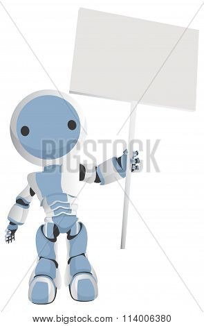 Blue Robot Holding Sign Above His Head