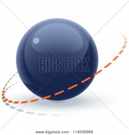 Glossy Blue Orb With Dotted Line