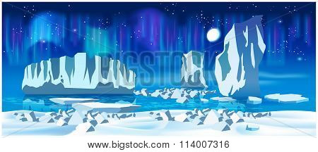Arctic Ice At Night