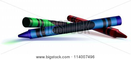 Red, Green, And Blue Crayons, White Background